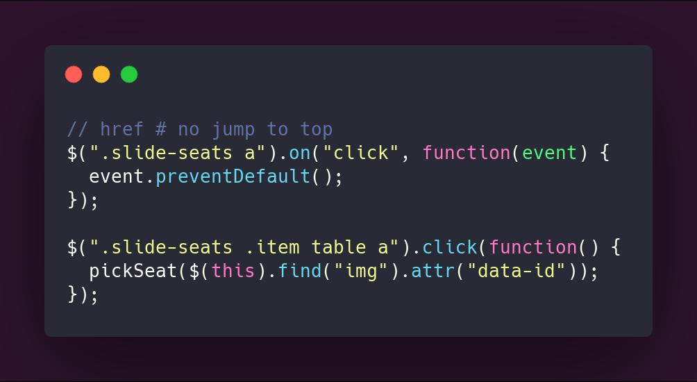 Código de los eventos de click del botón