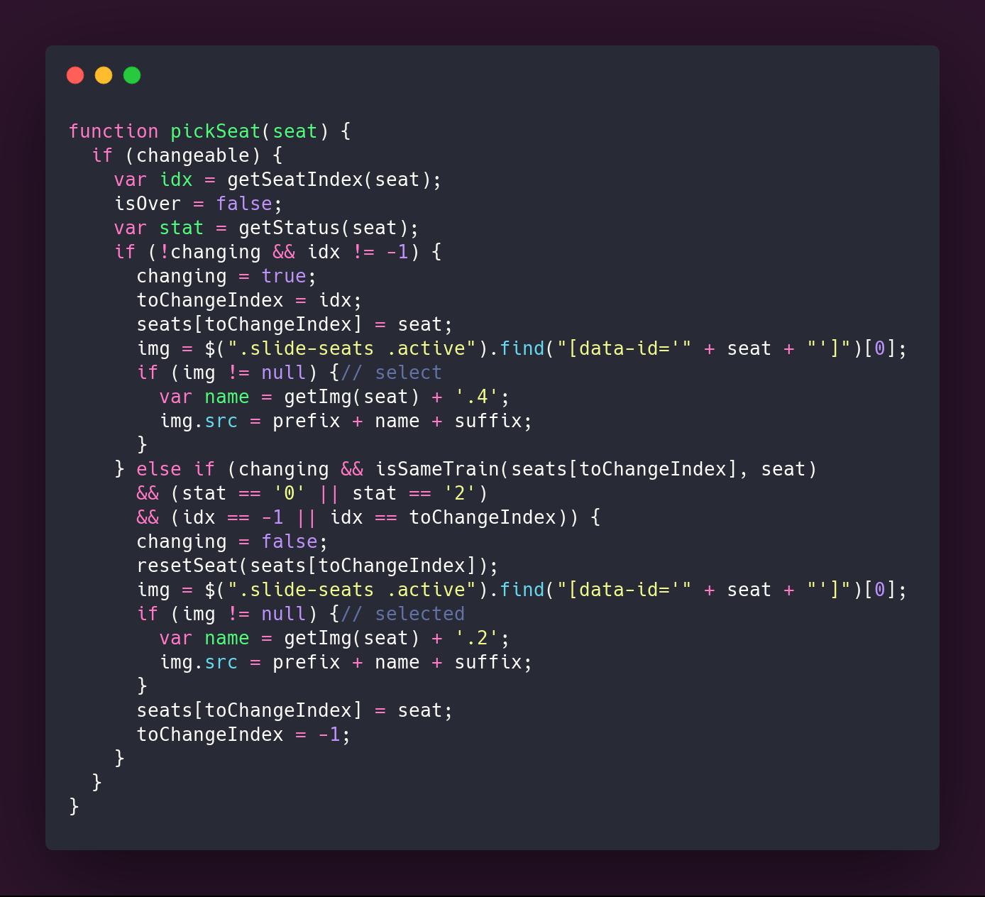 Código de la función pickSeat