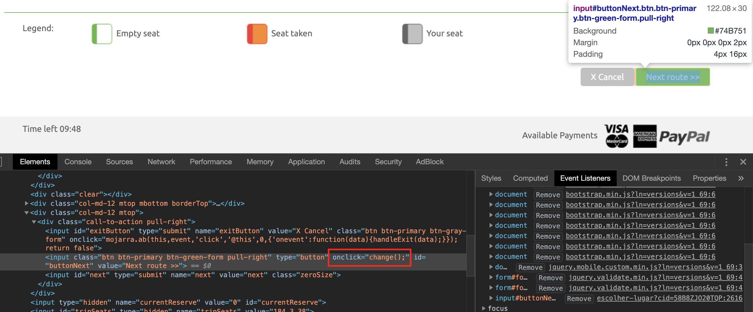 Evento onclick en el elemento HTML