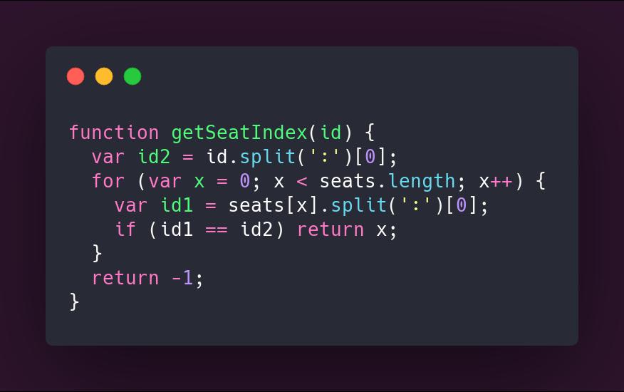 Código de la función getSeatIndex